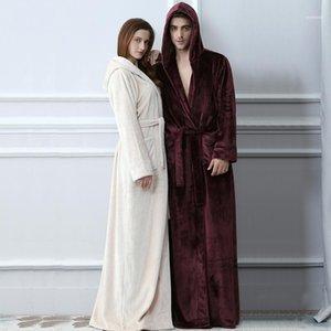 Los amantes de las prendas de dormir para hombres con capucha con capucha extra larga franela cálida albornoz hombres mujeres engrosamiento de invierno kimono baño bata masculina vestido vestido robar