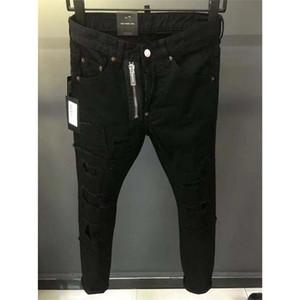 Nero dei jeans del cowboy maschio Jean Homme Mens classici pantaloni in denim Biker Pant Slim Fit Baggy Trousers Etero Maschio Designer Ripped