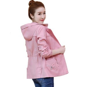 Trench for Women New Spring Autumn Windbreaker Outerwear Slim Short Female Hooded Coats Casual Tops Women's clothing AA946
