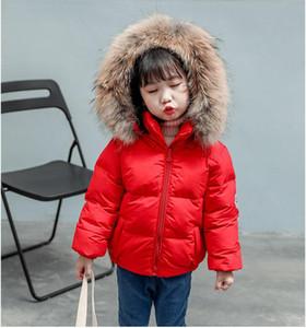 Jungen beschichten Kindwinterwollekragen Jungen und Mädchen gepolstert mit Kapuze Mantel, kurzes Kleid Designer Kinderkleidung Baby Jungen Jacke