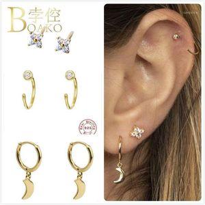 Серьги стерлингового серебра 925 для женщин Золотая луна Девушка подарочная звезда ушная кость женский хрящ Zircon Aretes Z51