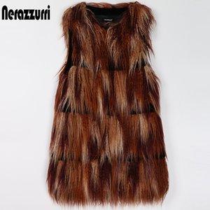 Nerazzurri colorido falso chaleco peluda melenudo mullido gruesos chalecos falsos mongol para las mujeres chaleco de piel de otoño