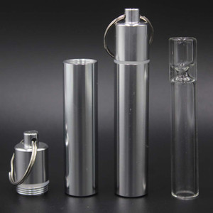 Glass Taster One Hitter Pipe with Keychain Metal Bottle Aluminum Waterproof Pill Holder,Portable Keychain Pill Box Case