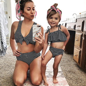 Mom Baby Ruffle Off Shoulder Swimwear Sexy Women Knotted Padded High Waist lattice Swimsuit mommy and me Beach Wear Bathing Suit 1006