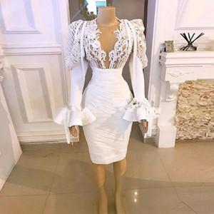 Little White Dress 2021 Real Image Long Sleeve Evening Party Gowns Dubai Arabic Women Lace Applique Cocktail Dress Vestido
