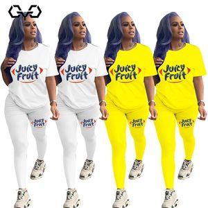 QYQ Juicy Fruit Two Piece Set Women Autumn 2020 Booty Cute Leggings Pants Top Elegant Sexy Tracksuit Sportswear Casual E girl C0122