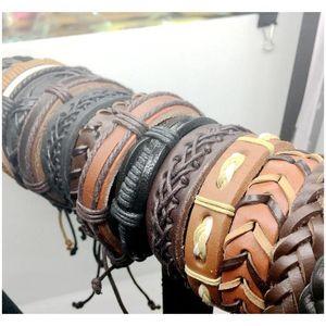 20pcs Lots Vintage Mens Genuine Leather Surfer Bracelet Cuff Wristband Fashion Jewelry Gift Mi wmtEoW beauty888
