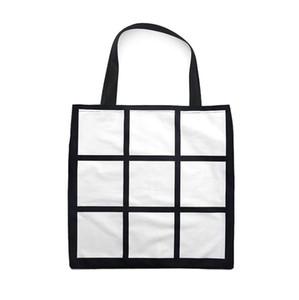 Sublimation Grid handbag Tote Bag Blank White DIY heat transfer shopping bag 9 panels Cloth reusable Storage gift bag handbag SN4823