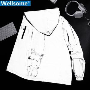 Noctilucent Streetwear men's reflective jacket women windbreaker casual hip hop Hooded coats mens streetwear night shiny jackets