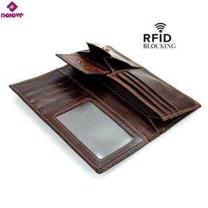 Design Neue Geldbörsen Cash RFID Multifunktionale Leder Herrenkuh Lange Dolove Brieftaschen Halter Echte Ankunft qowdi