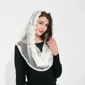 Couverture white black Catholic Head Scarf women Kerchief Chapel lace Veil Wedding bride Mantilla Latin Veils for Mass