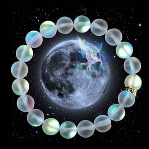 Sirena Cuentas Mate pulseras la pulsera elástica de cristal para las mujeres de los hombres de piedra lunar joyas regalos de Navidad hecha a mano Muñequera