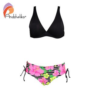 Andzhelika Sexy Bikini Set Women Solid Top Print Bottom Swimsuit Push Up Brazilian Bikinis 2020 Plus Size Two piece Bathing Suit 1004