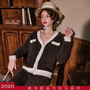 jw9ac automne et hiver nouveau cardigan chaud chenille vison comme pyjamas petits parfums de femmes de femme simple contraste couleur vêtements chauds vêtements vêtements