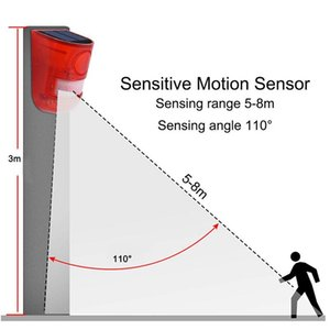Solar Sound Alert Flash Warning Sound Light Alarm Motion Sensor 110 Decibels Siren Strobe Security Alarm System For Farm sqcJcH sports2010