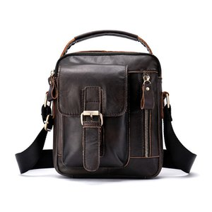 Fashion 2019 Briefcase Men Leather Crazy Horse Small Shoulder Famous Brand High Quality Mens Messenger Bags Causal
