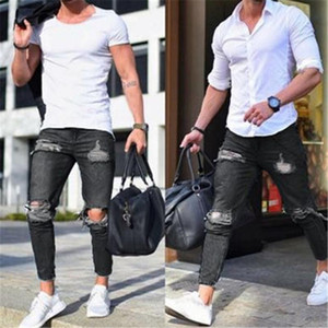 Мужские джинсы черные рваные отверстия для мужчин стритюрают тощий тонкий подходящий мужчина уничтожен джинские карандашные брюки проблемные растягивающие джинсовые брюки