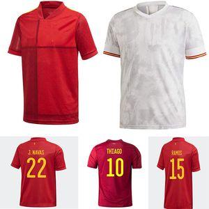 20 21 스페인 축구 유니폼 유니폼 드 Fútbol Ramos Thiago A. Inniesta 남자 키즈 Hombres Mujeres Niños 아기 축구 셔츠