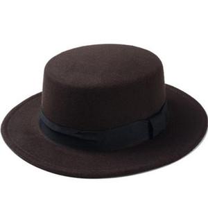 Brand Fashion Wool Boater Flat Top Hat For Women Felt Wide Brim Hat Laday Prok Pie Chapeu de Feltro Bowler Gambler Top