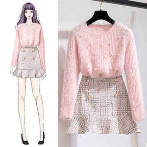 New Autumn Winter Two Piece Set Tracksuit Women Elegant Beading Knitted Sweater+High Waist Tweed Mermaid Skirt Ladies Outfits X0923