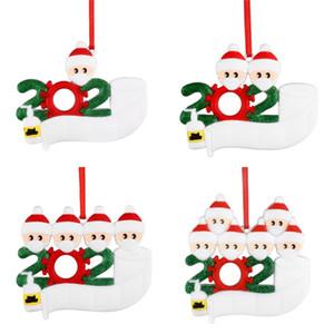 Рождественский Карантин Подвеска ПВХ DIY Имя Blessing семьи подвеска 2 3 4 5 Кукла носить маски орнамент