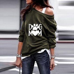 2020 New Fashion DOG MOM Print Kawaii Sweatshirts Hoodies Women Tops Clothes Corduroy Frauen Funny Pullovers Off Shoulder Tops