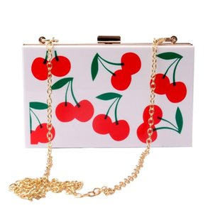 2020 Cherry Watermelon Fruit Acrylic Clutch Metal Purse Frame Pvc Plastic Flap Evening Day Clutches Shouler Messenger Lady Bag