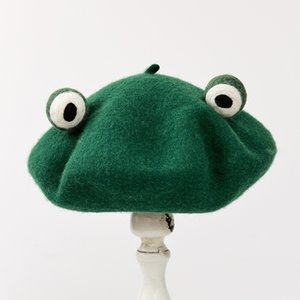 Original Autumn And Winter New Pattern Manual Wool Blanketry Lovely Funny Frog Beret Break Up Gift Send One Top Green Hat 201026