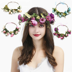 Fashion Bohemia Bride Flower Crown Band Wedding Floral Headband Garland Princess Wreath Tiara Girls Hair Accessories DHF2545