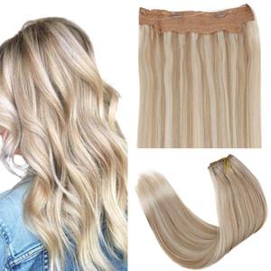 """Halo cabelo humano com fio transparente sem emenda e 2 clipes em extensões halo sem deslizamento 10.5 """"largura Destaque cabelo loiro halo"""