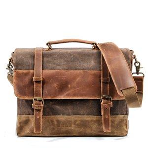 """Muchuan Olio Cera borsa impermeabile Mens spalla del sacchetto tela di canapa dell'annata valigette 14"""" Borse Messenger per notebook di grandi dimensioni"""