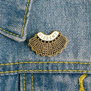 Feminism DISSENT Enamel Pin Ruth Bader Ginsburg Female Justice Brooches Steampunk Gold Pleated Skirt Lapel Badge Pins for women