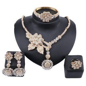 New Women Bridal Party Jewelry Sets Charm Crystal Flower Pendant Necklace Earrings Bracelet Ring Accessories Decoration