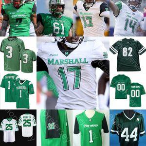 Personalizado Marshall Thundering Herd Football Jersey NCAA Randy Moss Ahmad Bradshaw Isaías Verde Knox Levias Willie Johnson Broc Thompson