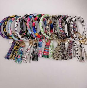EUBFREE 10pcs mixed colors PU Leather O Chain Custom Circle Tassel Wristlet Bracelet Keychain Women Girl Key Ring Wrist Strap