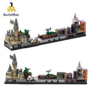 BuildMOC Gebäude in der Stadt Harry Hogwarts Schloss Architektur Stadt-Skyline Street View Haus Building Blocks Kinder Spielzeug-Geschenke 1008
