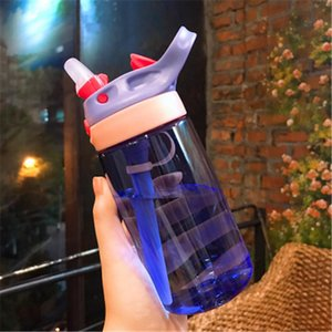 480ml 4 Colors Baby Water Bottles Infant Newborn Cup Children Learn Feeding Straw Juice Drinking Bottle BPA Free for Kids