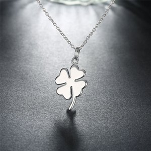 Fashion Europe Lucky Necklace for Women Man Lover's Clover Pendant Silver Color Necklaces Engagement Jewelry Birthday Gift