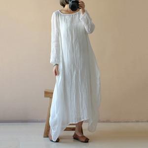 womens designer Hemp cotton autumn long sleeve dress
