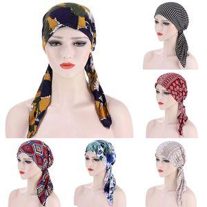 Урожай печати Цветы Женщины Внутренний Hijabs Caps Муслима платке тюрбан Bonnet Reay Чтобы носить исламский головной обертку под Hijab Caps