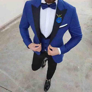 Y527 Black Shawl Laple With Blue Suit Mens For Wedding Custom Made 3 Pieces Fashion Men Suits Blazer Groom Prom Gowns Tuxedo