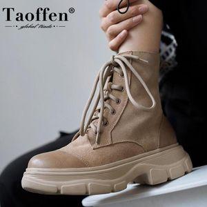 Taoffen 2021 Frauen Ankle Boots aus echtem Leder Winterschuhe Damen Mode flache Ferse Schuhe Zipper beiläufige Schuhe Größe 34-41