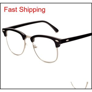 Nueva aleación Medio Marco Remache Gafas de computadora Anti Radiación Resistente a Radiación Ojo óptico Ojo Óptico Glasse QYLHCD NANA_SHOP