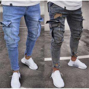 designer Slim Fit Men Hi-Street mens Distressed Denim Joggers Stretch men's Jeans trend knee hole zipper feet trousers new