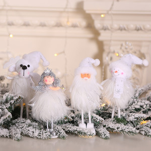 Christmas Ornament Silver Silk Plush Toy Standing Posture White Santa Claus Snowman Princess Doll Window Snowman Xmas Decoration OWD2580