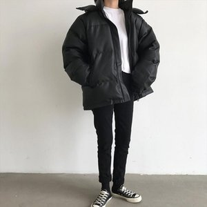 Black Thicken Oversize Stylish PU Leather New Warm All Match Students Warm Female High Quality Outwear Loose Coat