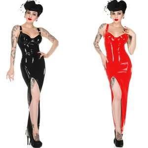 Женская искусственная кожа BodyCon Slim Long платье сексуальный красный черный высокий вырезать спагетти ремешок партии клуб носить платье Vestidos 6XL плюс размер T200707