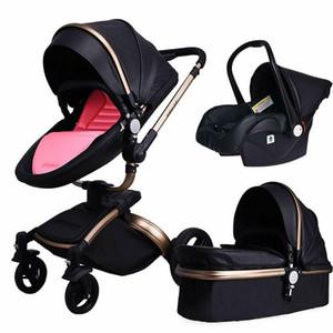 Poussette bébé 3 en 1 cuir chariot en cuir pliable poussette poussette poussette bassinet pu