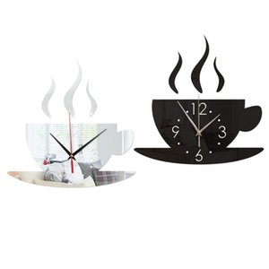 Mirror Wall Clock Coffee Cup Pattern 4 Color Home Decor Diy Mural Self-Adhesive Wall Stickers Clock Sticker Acrylic