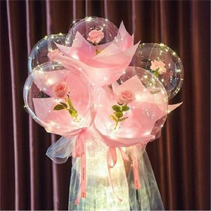 LED Balloon Light LED Luminous Bobo Ball Flashing Light Rose Bouquet Rose Valentines Day Gift Balloon for Birthday Party CCE4147
